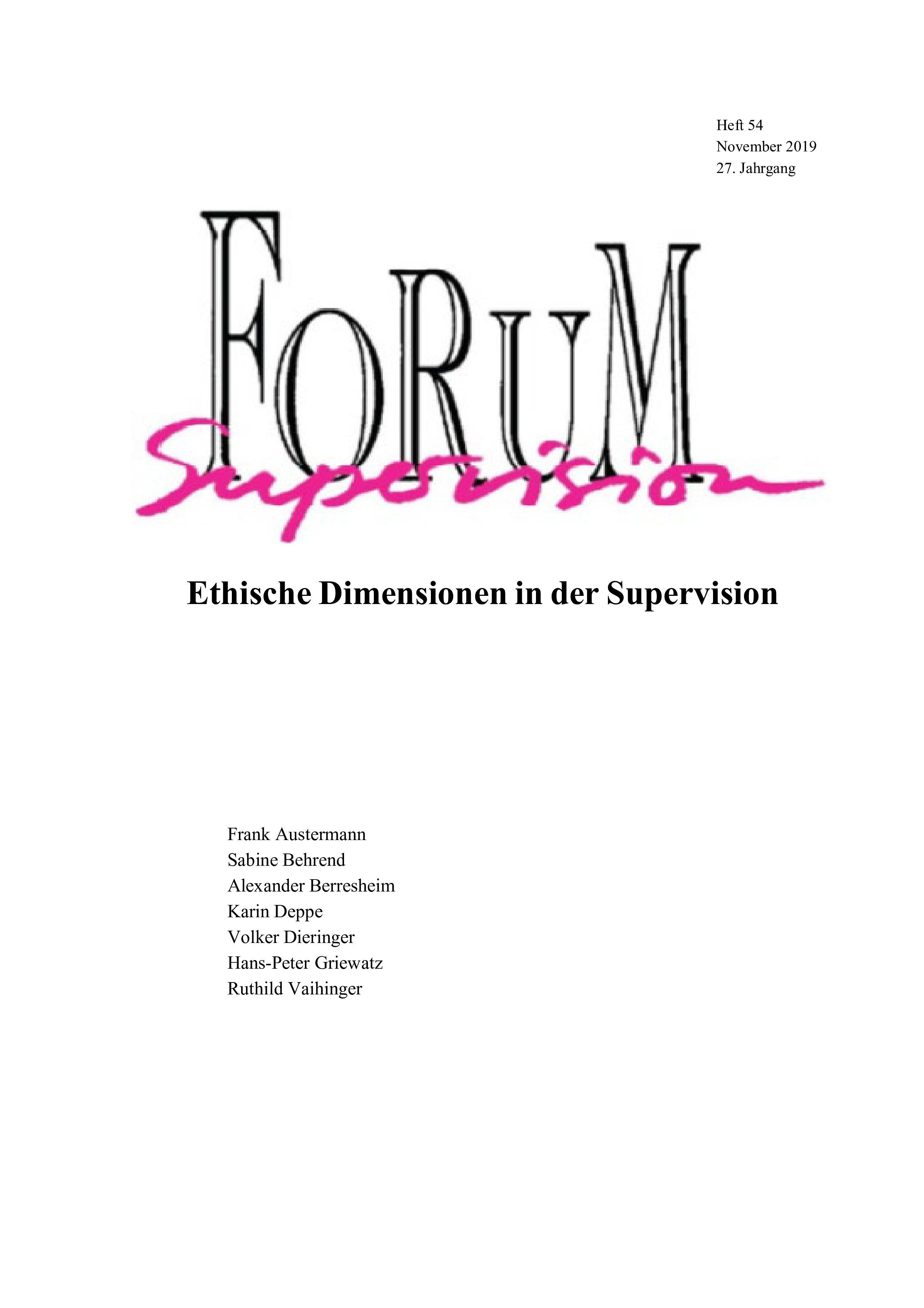 Ansehen 2019: Heft 54 - Ethische Dimensionen in der Supervision